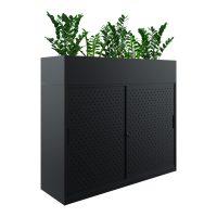 black sliding door cabinet with planter