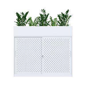 white sliding door cabinet with planter