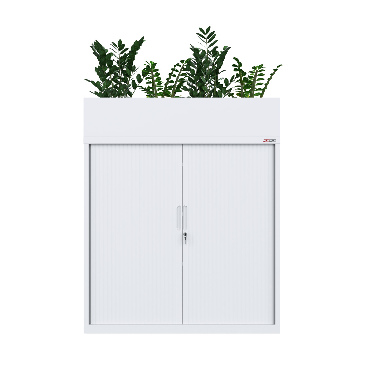 white tambour cabinet with planter box