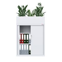 white tambour cabinet with planter box open