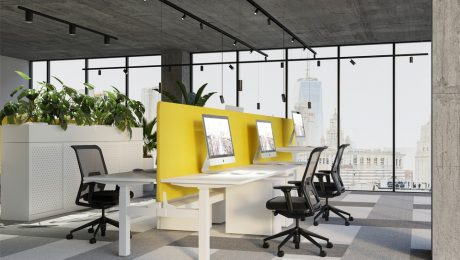 Height adjustable workstations in office
