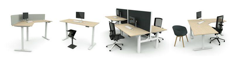 Adjustable height workstation range
