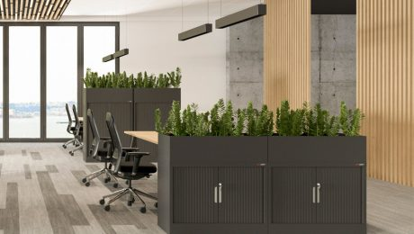 Tambour cabinets in office